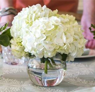 Quinceanera ideas with hydrangeas centerpieces for Small centerpieces for tables